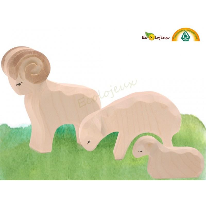 Figurines bois Famille Mouton
