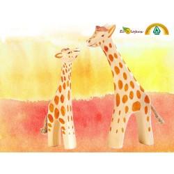 Figurine en Bois Fait Main Jouet Waldorf Jouet naturel Design  Girafe et Girafon