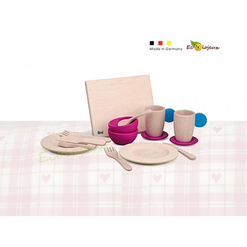 Dinette Set Vaisselle en bois Jouet Bois Waldorf Artisan Europe France Jeu Montessori