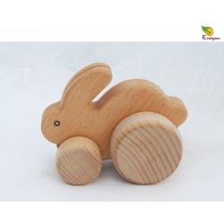 jouet voiture en bois Lapin en bois jouet à pousser système roues désaxées