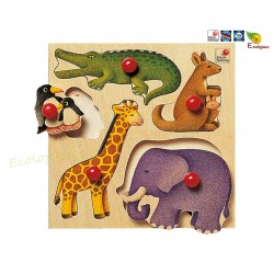 Puzzle bois à bouton Zoo