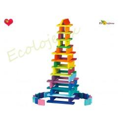 jouet bois libre jeu de construction en bois planche plaquette Arc en ciel Fabrication artisanale