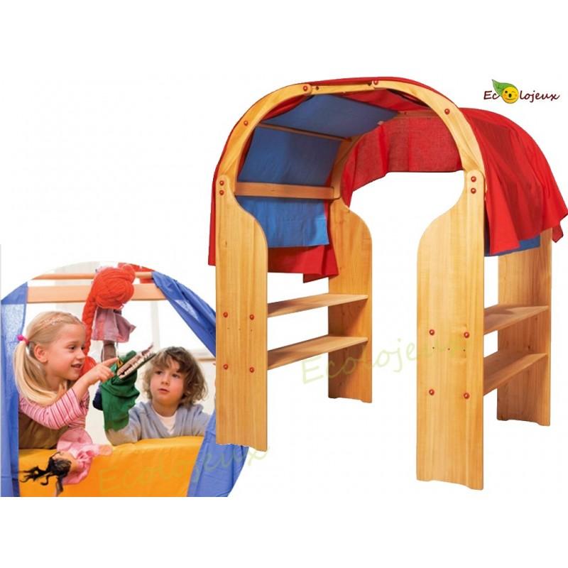 Stander Waldorf étagère théâtre marionnette cabane bois Jardin d'enfants