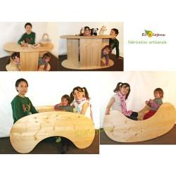 Table enfant bois massif artisan Bascule Marchande Théâtre