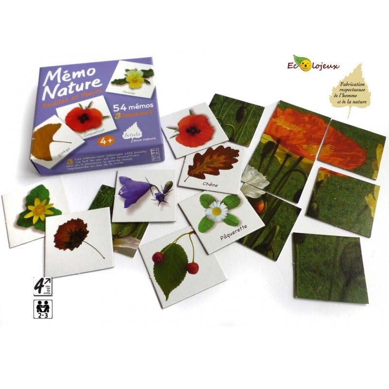 Mémo Nature Fleurs et Feuilles Editions Bétula Exbrayat Jeu éducatif nature Mémo Fleurs Edition Bétula Exbrayat Feuilles