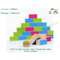 Milaniwood wall to wall Jeu en bois stratégie Mur contre Mur Puissance 4 4 en ligne jeu bois réflexion Milaniwood