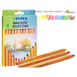 Crayons Lyra Assortiment Waldorf 12 CRAYONS TRIANGULAIRES WALDORF LYRA Stockmar école Steiner