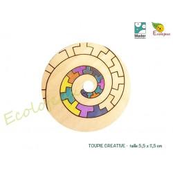 Toupie Créative Mader à personnaliser et Crayon 4 couleurs TOUPIES EN BOIS COLLECTIONNEURS Jouet toupie originale Jeu Libre