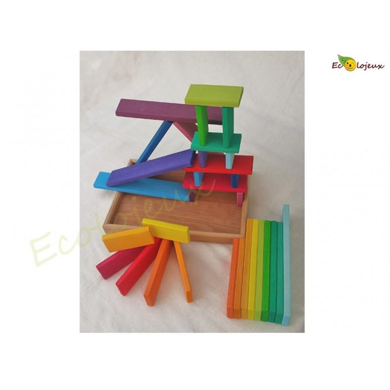 Jeu de Construction bois Jouet libre Planchettes colorées arc en ciel