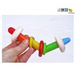 Jouet écolo bébé  Hochet bois Selecta 61031 cadeau naissance bois jouet eveil naturel