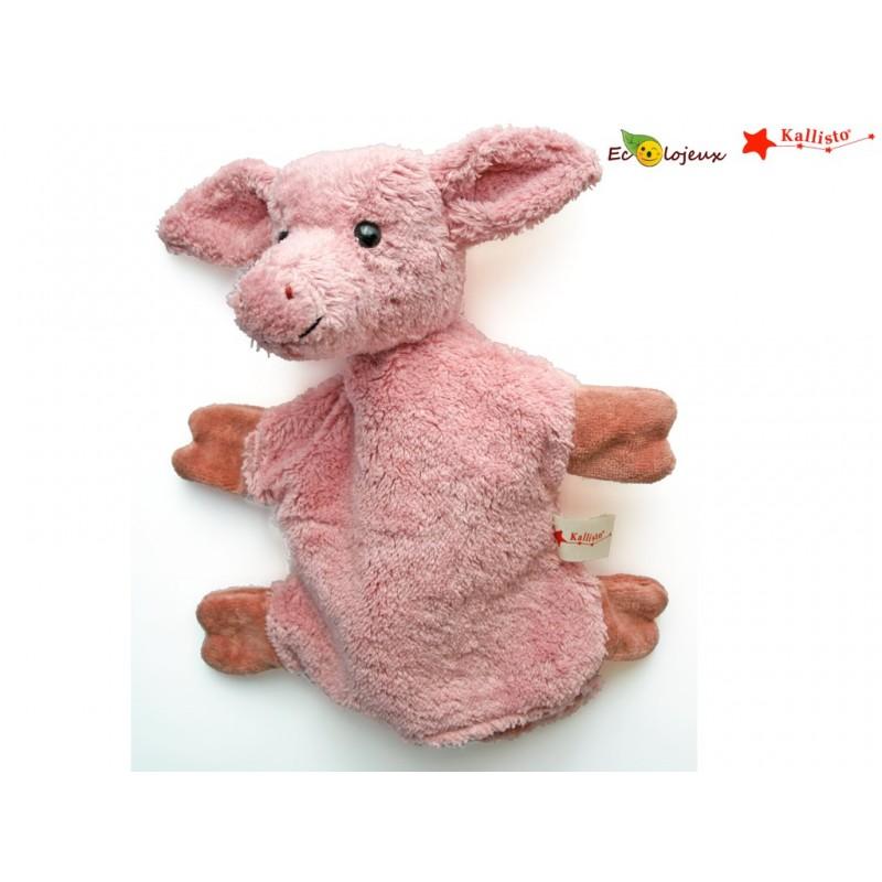 Marionnette à main Bio Cochon Doudou bio CADEAU NAISSANCE BIO Marionnette Kallisto Jouet Waldorf