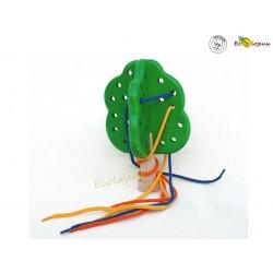 Jeu à lacer enfiler en bois - Enfiler Montessori apprentissage Laçage Chaussure enfants - Pommier de laçage
