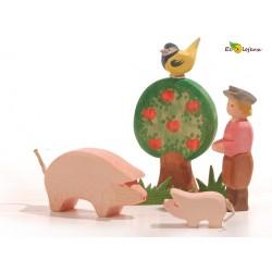 jouet waldorf figurine bois animal cochon jouet ferme