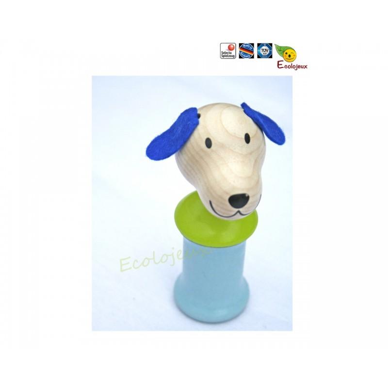 Cadeau naissance bio naturel - Jouet Bois Selecta - Ringo le chien qui couine