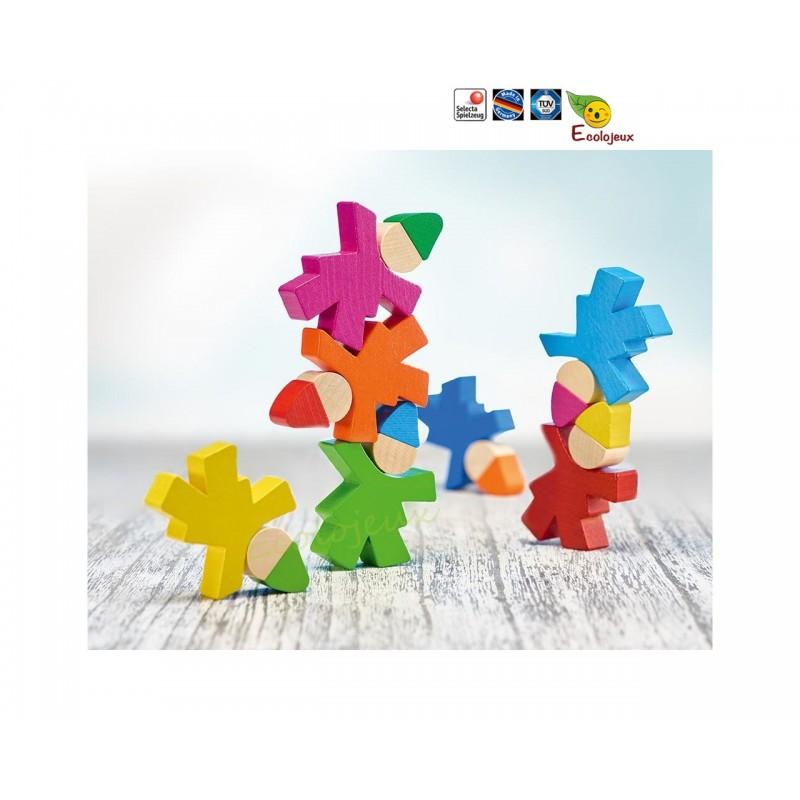 LUTIN EN BOIS Figurine bois empiler encastrer 7 nains Selecta 62039