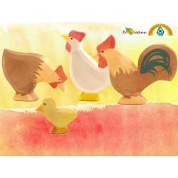 Figurines animaux en bois Famille Poule Ostheimer 13113 13118 13123 13121