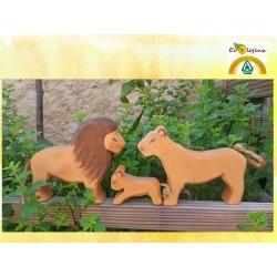 Figurines bois Famille Lion Fait Main ANIMAUX EN BOIS ostheimer 20001 20002 20004