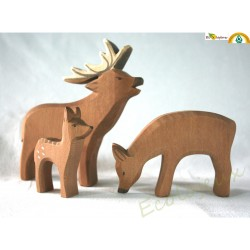 figurine bois Cerf biche faon fait main Ostheimer JOUET WALDORF