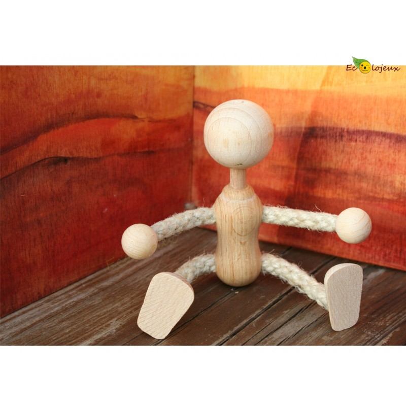 Bonhomme en bois articulé Jouet Bois figurine Bonhomme arc en ciel Maison poupée