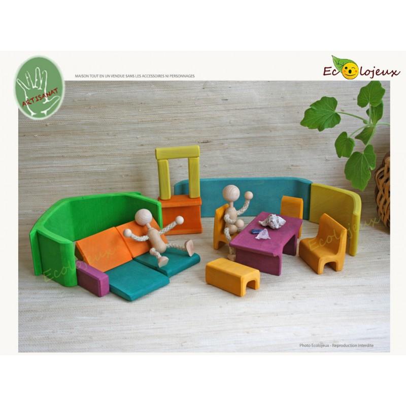 Jouet bois Maison poupées tout en un Jouet bois Waldorf Jouet Gluckskafer Jouet Grimm's Jeu Libre