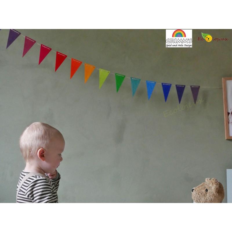 Guirlande arc-en-ciel Grimm's 70245 décoration Chambre enfants arc en ciel Cadeau naissance bois bébé bio