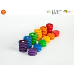 Jouet libre Grapat Nins®Grapat - 6 Nins 36 anneaux et 6 disques colorés Bohomme Figurine en bois