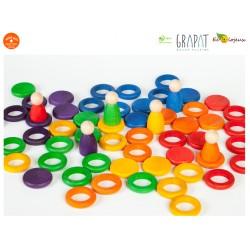 Jouet libre Grapat Nins®Grapat - 6 Nins 36 anneaux et 6 disques colorés Bonhomme Figurine en bois