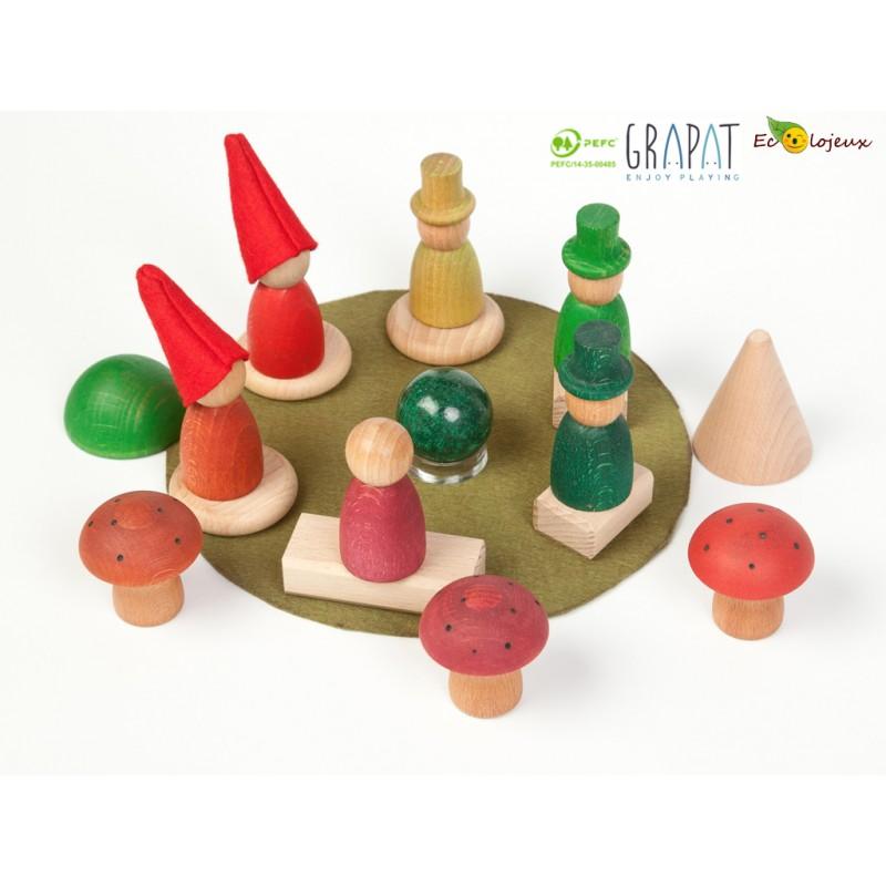jouet bois bonhomme figurine Nins grapat forêt 16134
