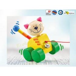 jouet bois à pousser  Selecta CHAT jouet pour la marche Jouet Selecta Tinka 62035