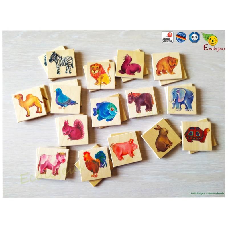 jouet en bois mémo zoo selecta jeux de qualité Animaux bois 3 6 ans Naturel