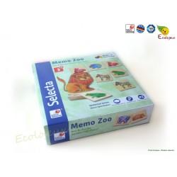 Jeu de société en bois maternelle Mémo animaux Selecta 63008 Fabrication écologique Naturel