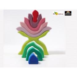 Jouet grimms fleur mauve 10900 jouet libre waldorf jeu naturel