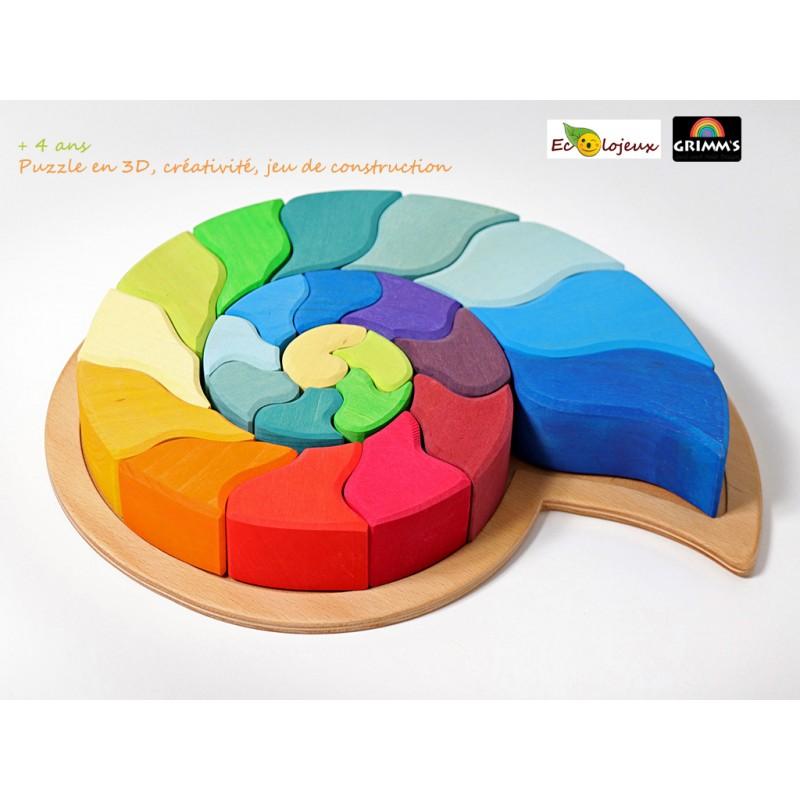 Grimm's jouet bois arc en ciel 43660 escargot puzzle arches Jeu libre