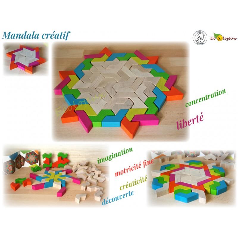 Jouet libre bois Mandala créatif artistique Mandala bois Geoblox 60pcs Erzi Jeu construction