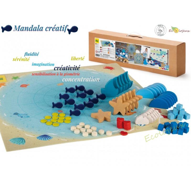 Jouet libre bois Mandala ocean créatif Mandalay Erzi 102 pcs Jeu construction 42282