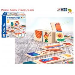 Domino Jouet en bois 3 ans puzzle en bois Chaîne d'image Selecta 62056 Jeu écologique Fabrication europe