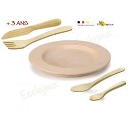 Dinette BOIS Assiette et couverts  Dinette Erzi Jeu symbolique maternelle Jouet imitation  USTENSILE MONTESSORI
