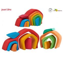 Jouet Libre Bois Jeu inspiration Montessori Jeu de construction Maison de Lutin Arc en ciel