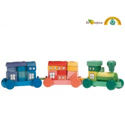 Train en bois multicolore