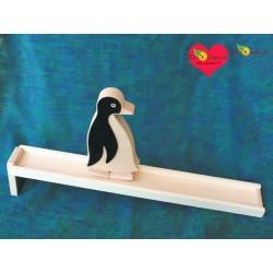 Jouet bois Descente animal Pingouin  Jouet bois Tip Tap Jouet bois original Jeu ancien mécanisme rigolo
