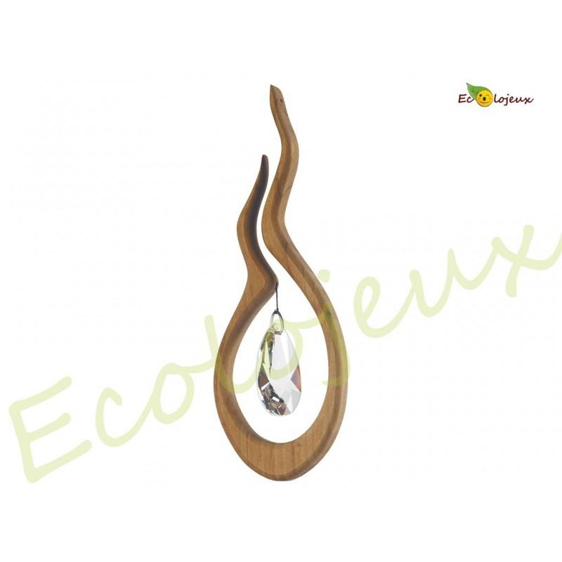 Mobile en bois artisanal et cristal Shakti  Suspension déco design
