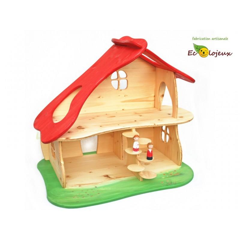 Maison Poupée Champignon - en bois - artisanale