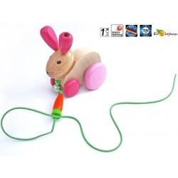 Jouet bois à tirer Lapin Hannah jouet pour la marche 1 an 18 mois 24 mois Jouet Selecta Bois Jeu écolo durable bio naturel