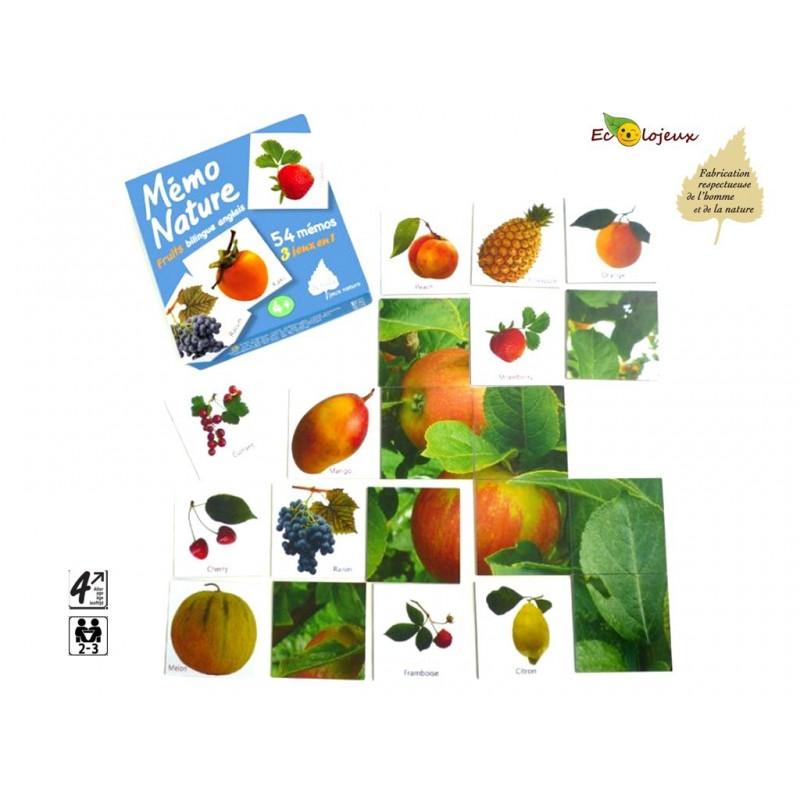 Jeu nature Mémo Nature Fruits Bilingue Anglais Apprendre Langues Editions Bétula Exbrayat