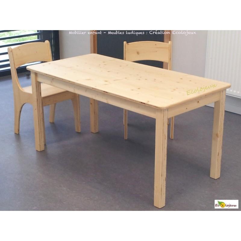 mobilier enfant bois massif cr ation ecolojeux table. Black Bedroom Furniture Sets. Home Design Ideas
