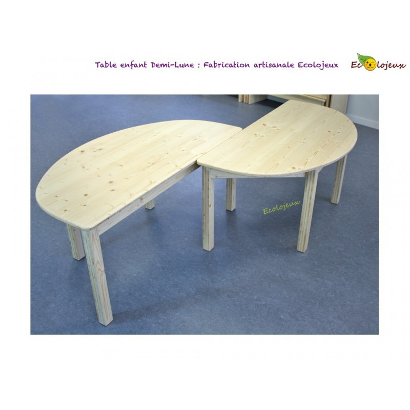 Table Enfant Bois Demi Lune Creation Ecolojeux