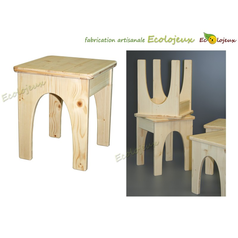 tabouret bois enfant fabrication artisanale ecolojeux. Black Bedroom Furniture Sets. Home Design Ideas