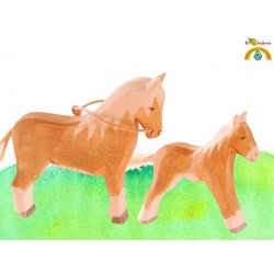 Figurines bois Famille Cheval Caramel